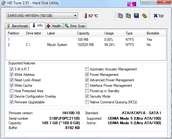 Samsung HM160HI Drive Information