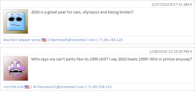 Screenshot of a spam comment replying to another comment about the year 2010 and parying like it's 1999 with different email addresses but originating from the same IP address.