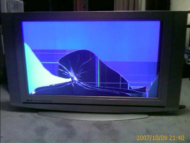 Picture of a broken LCD panel in the TV, completely distoring the image.