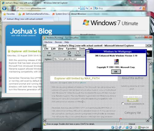 "Screenshot of Internet Explorer 7 running behind a VirtualBox window running Windows for Workgroups 3.11 showing the ""winver"" about dialog box."